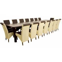 Zestaw Hjalmaren 16 krzeseł A-17 i stół S-26 100x160/400 cm orzech, tkanina przód W-32 (ciemny brąz) / reszta W-06 (krem)