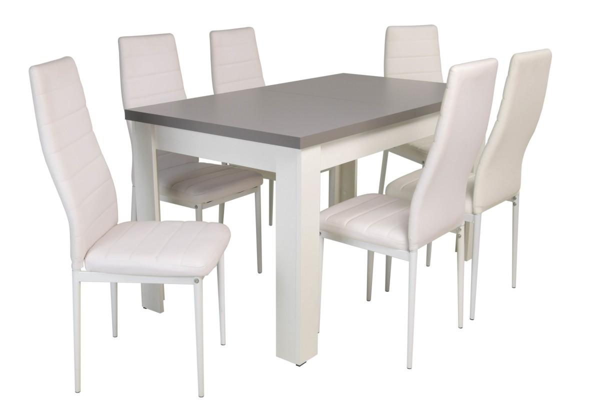 Kolorystyka na zdjęciu: Krzesło: białe Stół: biały/ blat grafit