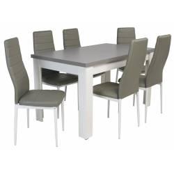Kolorystyka na zdjęciu: Krzesło: szare/białe nogi Stół: biały/ blat grafit