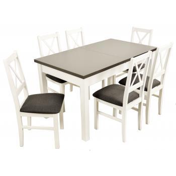 Zestaw Fegen 6 krzeseł N 10 + rozkładany stół MD 10 80x140180 biały blat grafit