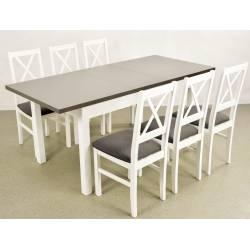 Kolorystyka na zdjęciu: • stół: biały/blat grafit • krzesło: białe/obicie nr 11
