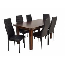 Kolorystyka na zdjęciu: • stół: orzech • krzesło: siedzisko czarne/podstawa czarna
