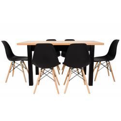 krzesło: siedzisko czarne/nogi buk, stół:podstawa czarna/blat buk: