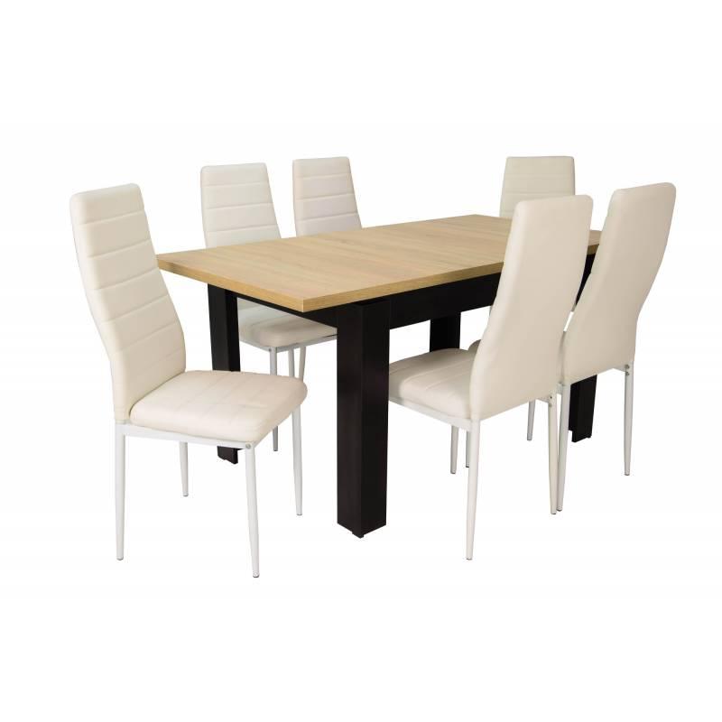 Stół czarny/blat sonoma, krzesło: białe