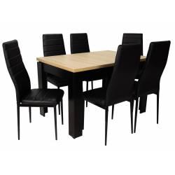 Stół czarny/blat sonoma, krzesło: czarne
