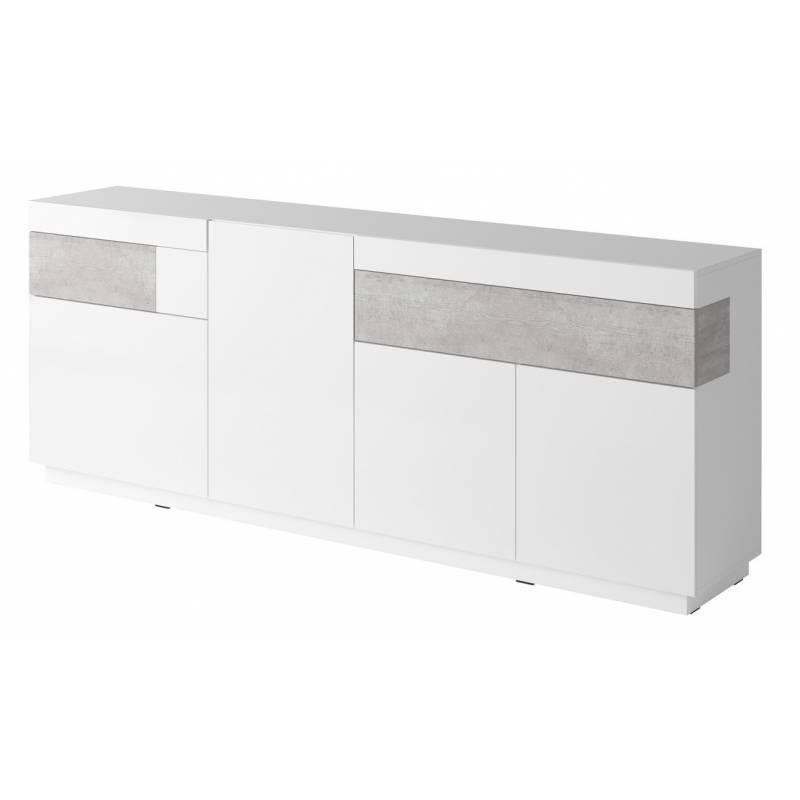 Silke komoda TYP-25 biały / biały połysk + beton