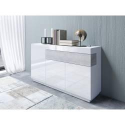 Komoda Silke TYP-43 biały / biały połysk + beton colorado