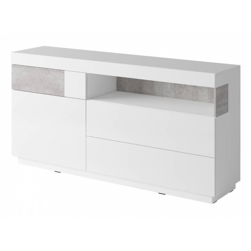 Komoda Silke TYP-47 biały / biały połysk + beton colorado