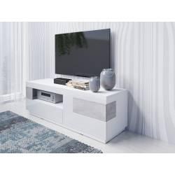 Szafka RTV Silke TYP-41 biały / biały połysk + beton colorado