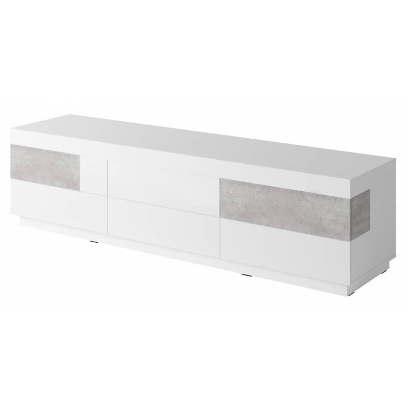 Szafka RTV Silke TYP-40 biały / biały połysk + beton colorado
