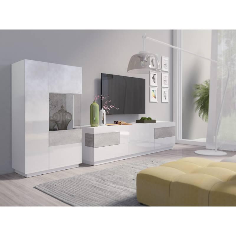 Meblościanka Silke I biały / biały połysk + beton colorado