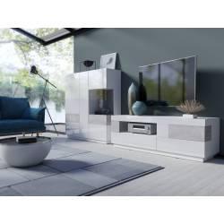 Meblościanka Silke II biały / biały połysk + beton colorado