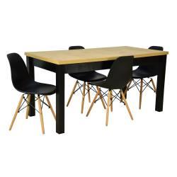 Zestaw 4 krzeseł SL Czarne...