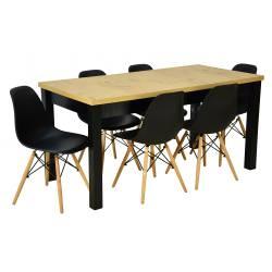 Zestaw 6 krzeseł SL Czarne...