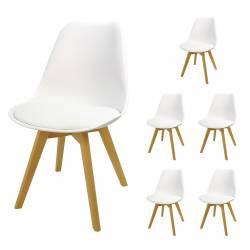 6x Krzesło SL-2 Białe, nogi...