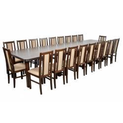 Zestaw Huron 20 krzeseł B-14 i stół WP-400 100x200/400 orzech, obicie 13N