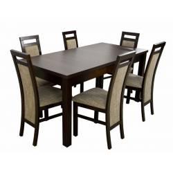 Zestaw 6 krzeseł K-75 i stół S-18 80x160/200 cm orzech, tkanina Lawa 2