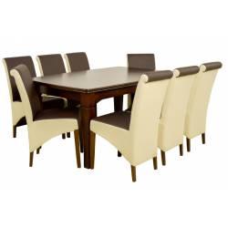 Zestaw 8 krzeseł A-17 i stół S-26 100x160/400 cm orzech, tkanina przód W-32 (ciemny brąz) / reszta W-06 (krem)